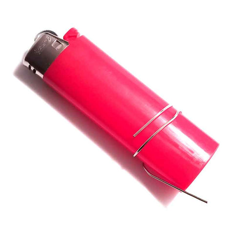 Red lighter with paperclip wrapped around the base