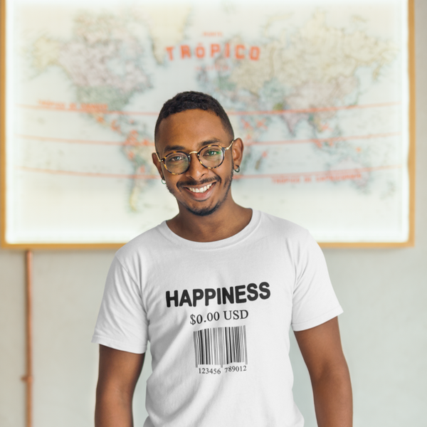 Happiness Is Free Barcode - Mens W Sustainable T-Shirt