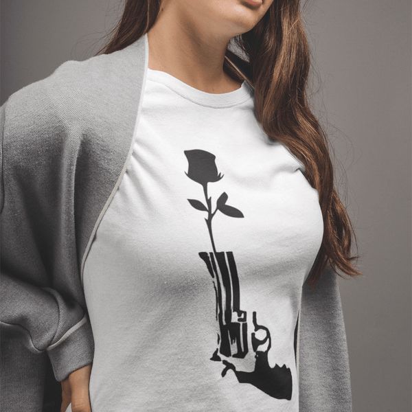 ANTI GUN VIOLENCE ROSE - Womens W 100% Organic Cotton T-Shirt