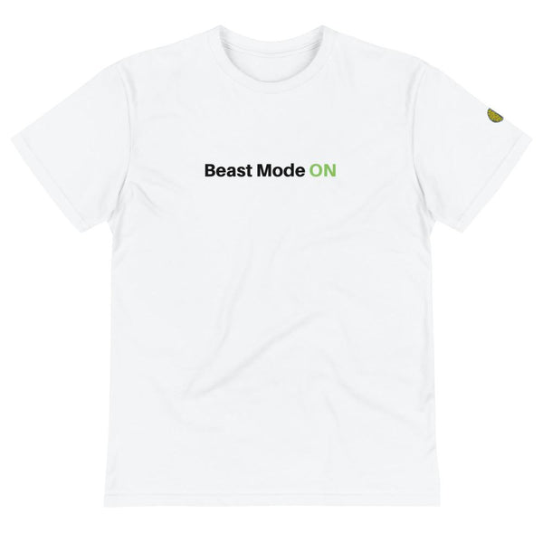 Beast mode ON - Mens White Sustainable T-Shirt yosicollective.myshopify.com