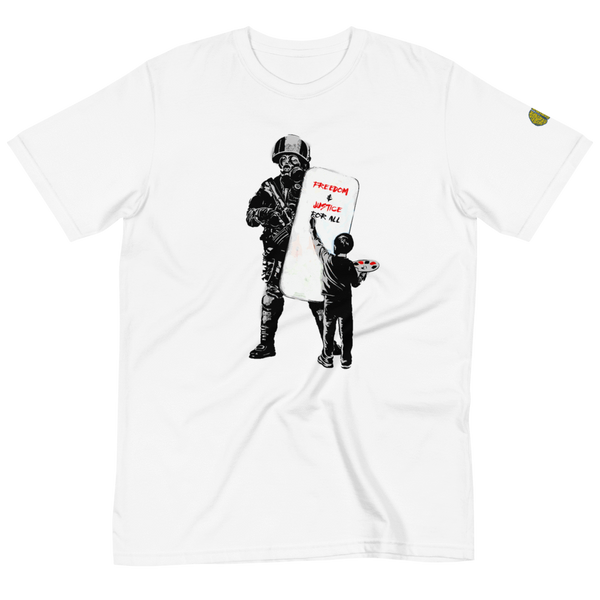 FREEDOM Banksy Inspired - Mens W 100% Organic T-Shirt yosicollective.myshopify.com