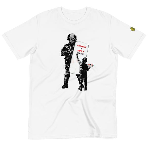 FREEDOM Banksy Inspired - Womens W 100% Organic T-Shirt yosicollective.myshopify.com