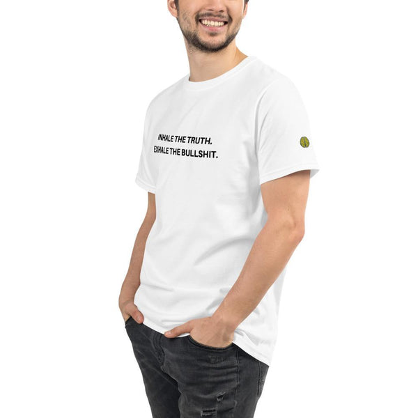 Inhale Truth Exhale Bullshit - Mens W 100% Organic T-Shirt yosicollective.myshopify.com