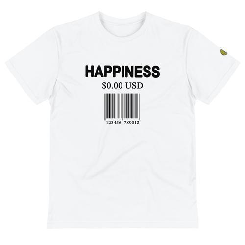 Happiness Is Free Barcode - Mens W Sustainable T-Shirt yosicollective.myshopify.com