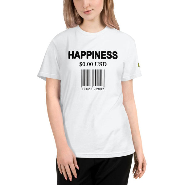 Happiness Is Free Barcode - Womens W Sustainable T-Shirt yosicollective.myshopify.com