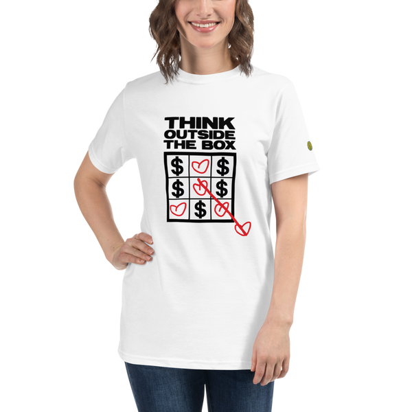 THINK OUTSIDE THE BOX - Womens W 100% Organic T-Shirt yosicollective.myshopify.com