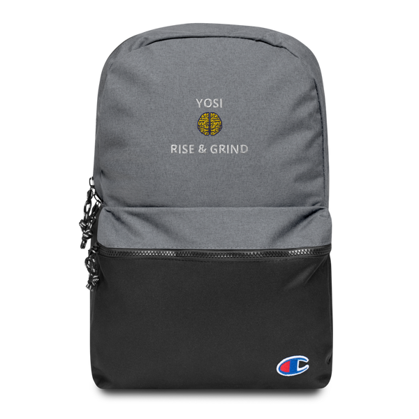 "YOSI x Champion ""RISE & GRIND"" - Embroidered Backpack yosicollective.myshopify.com"