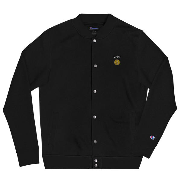 YOSI x Champion Mens Flagship - All Black Everything - Embroidered Bomber Jacket yosicollective.myshopify.com