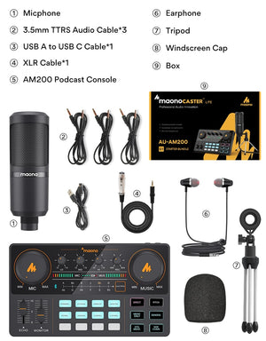 All-in-on Microphone Mixer Kit Sound Card Audio Podcaster