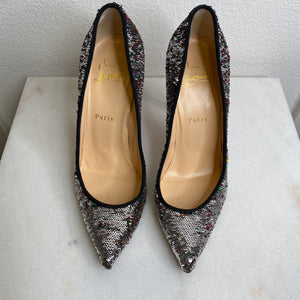 Christian Louboutin Silver Pigalle Follies Sequin Paillettes Pumps