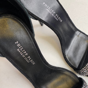 Philipp Plein Black Suede & Crystal Hexagon Sandal Heels