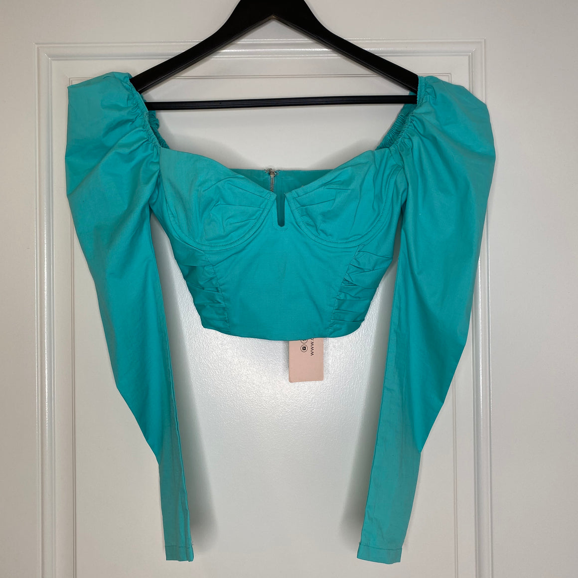 Turquoise Ohpolly Underwire Puff Sleeve Crop Top