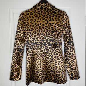 Leopard Meshki Stretch Satin Shiny Blazer