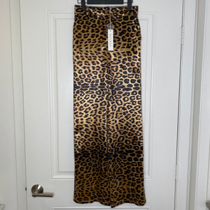 Leopard Meshki Stretch Satin Shiny Wide Leg Pants