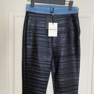 Black/Denim Balmain Stretch Shiny Leather Pants