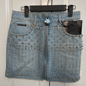 Denim Sparkle Studded Philipp Plein Skirt
