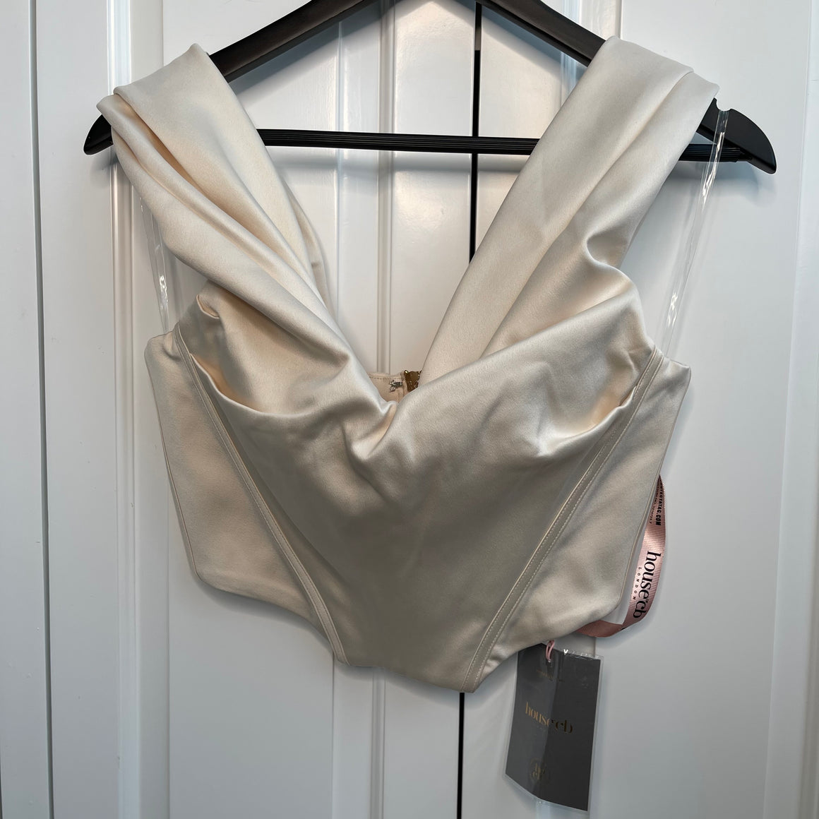 Cream Satin House Of CB Bustier Top
