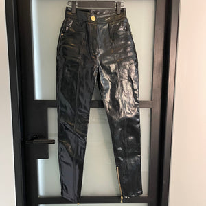 Black Balmain Coated Denim Pants