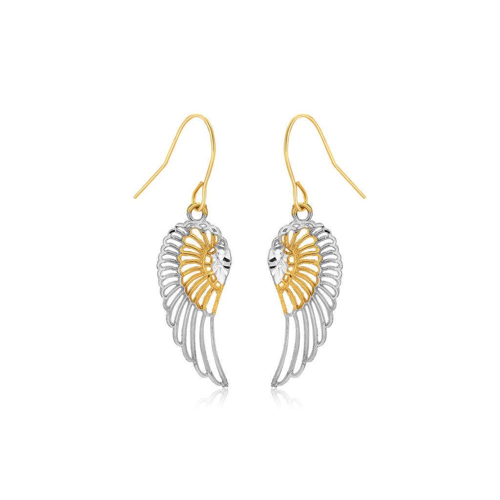 Two-Tone Wing Drop Earrings in 10K Gold