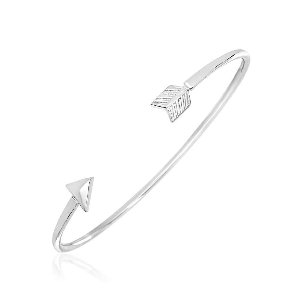 Sterling Silver Polished Arrow Cuff Bangle