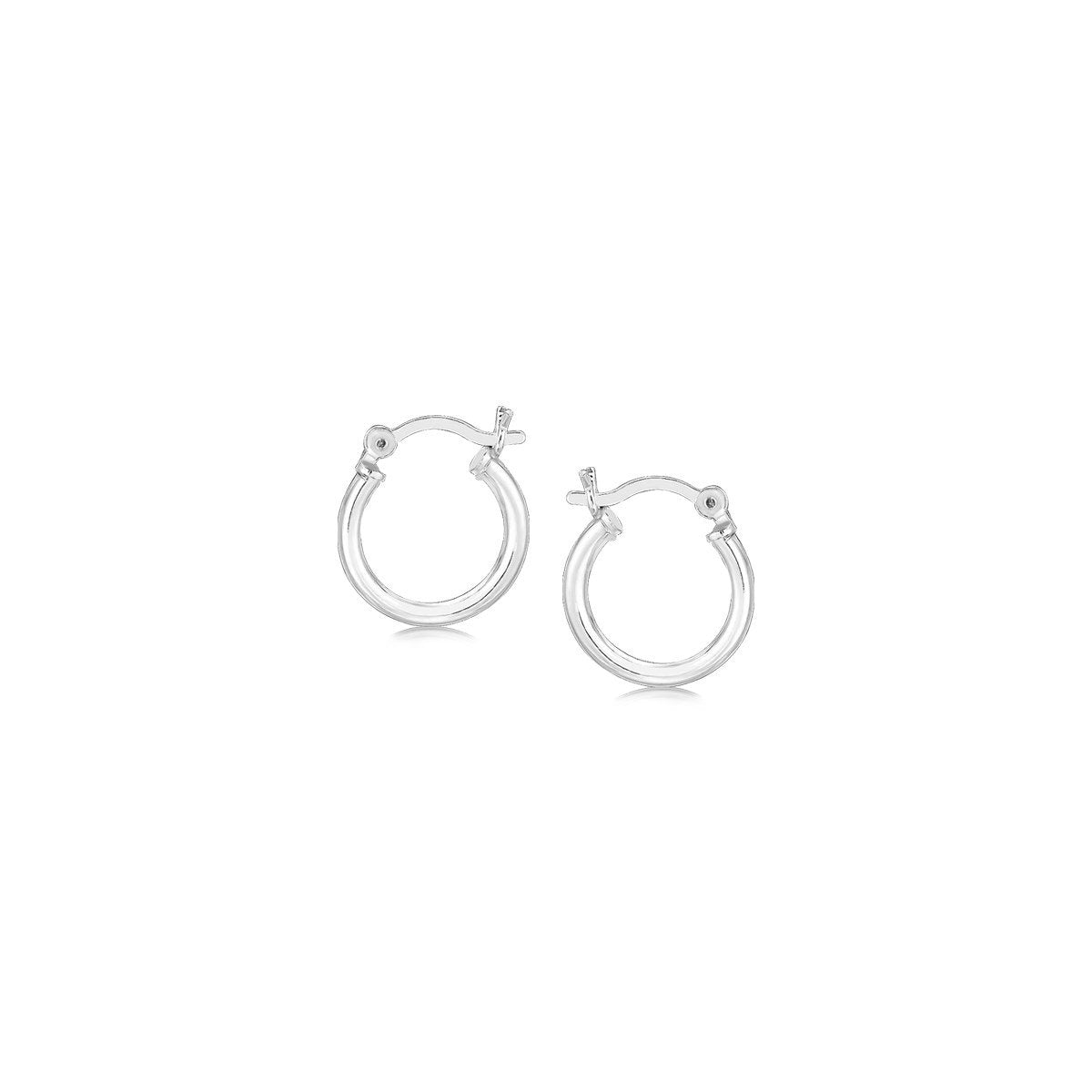 Rhodium Plated Small Thin Hoops