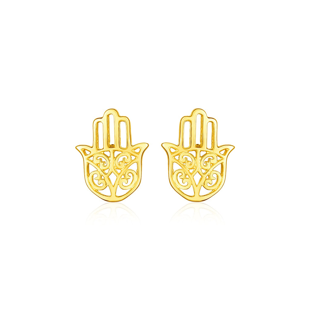 14k Yellow Gold Polished Hand of Hamsa Post Earrings