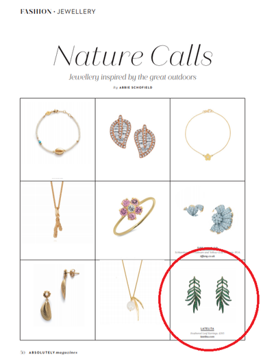 For the nature inspired jewellery lover, Latelita green leaf earrings spotted in Absolutely Magazine