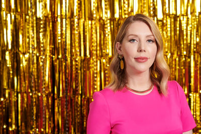 Katherine Ryan wears Latelita Earrings for filming of BBC2 All That Glitters Television Show