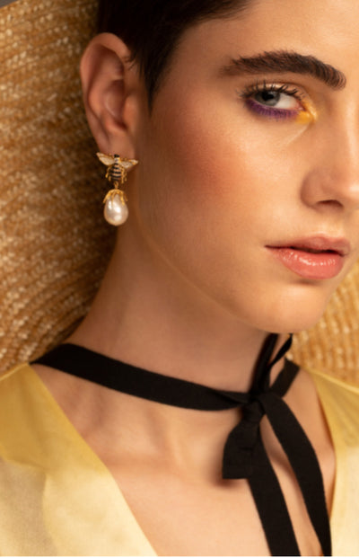 Spotted: Latelita Honey bee baroque pearl earrings in Lucy's Magazine