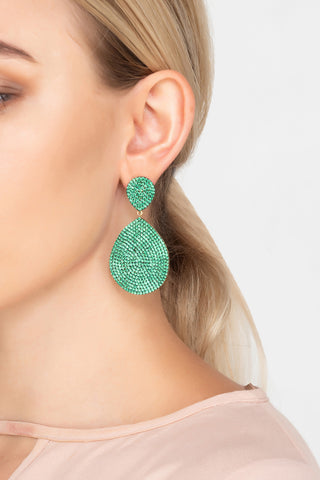 michelle keegan wears latelita large green earrings on dubai hen do
