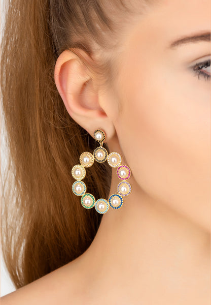 Large rainbow colourful natural pearl statement earrings jewellery gold latelita