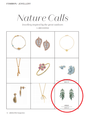 latelita absoultely magazine leaf green earrings