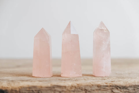 Latelita Jewellery natural pink rose quartz crystal being held for energy