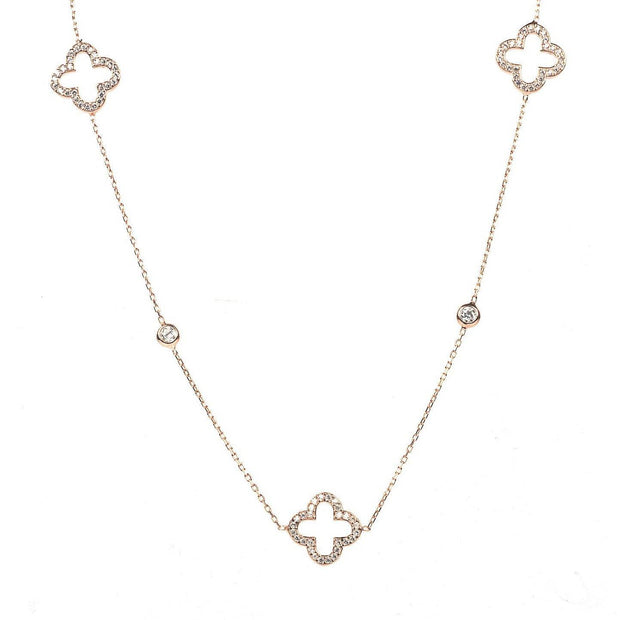 Necklace Long Hollow Clover Rosegold - LÁTELITA - 1