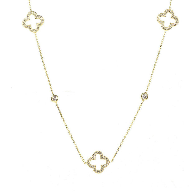 Necklace Long Hollow Clover Gold - LÁTELITA - 1