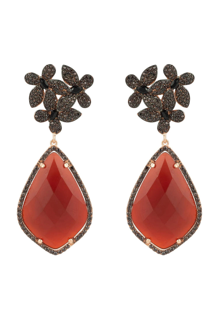 Flowers Teardrop Carnelian Chocolate CZ Rosegold - LATELITA