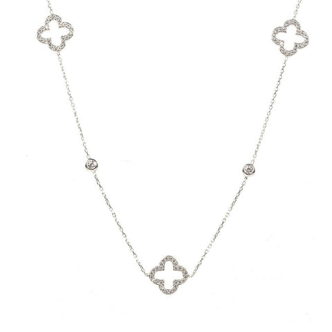 Necklace Long Hollow Clover Silver - LÁTELITA - 1