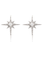 Mini Star Burst Small Stud Earrings Silver - LATELITA