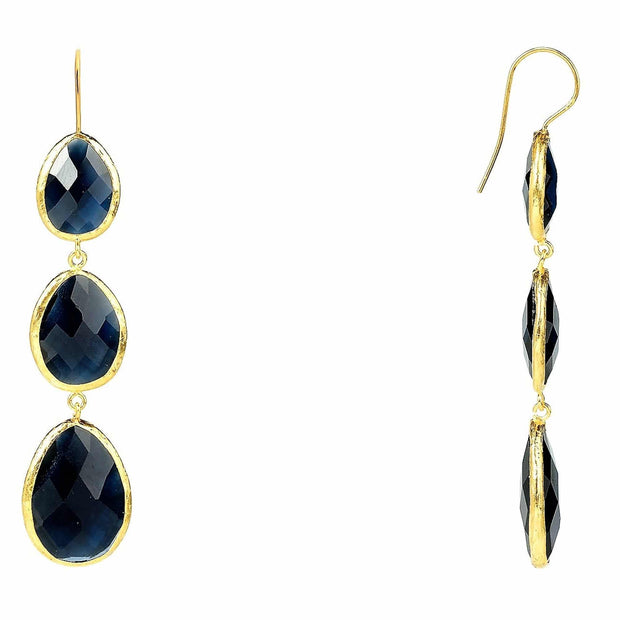 Triple Drop Earring Sapphire Hydro Gold - LATELITA