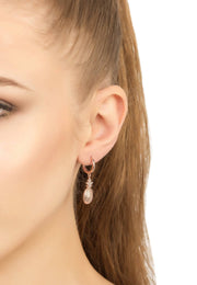 Oval Baguette Statement Drop Earring rosegold - LATELITA