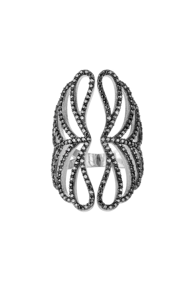 Marie Cocktail Ring Black Size O (US 7) silver - LATELITA