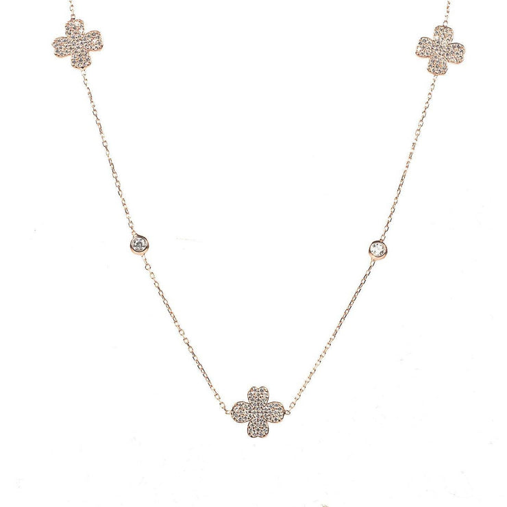 Lucky Four Leaf Clover Necklace Long Rose Gold - LATELITA