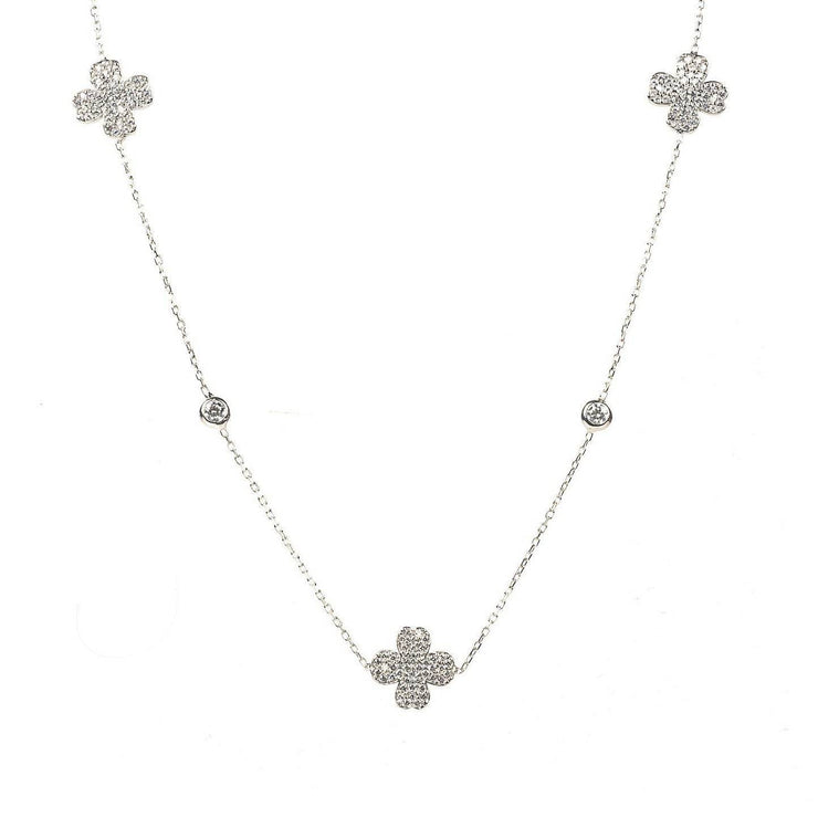 Lucky Four Leaf Clover Necklace Long Silver - LATELITA