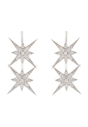 Star Burst Double Ear Climber Pair Silver - LATELITA