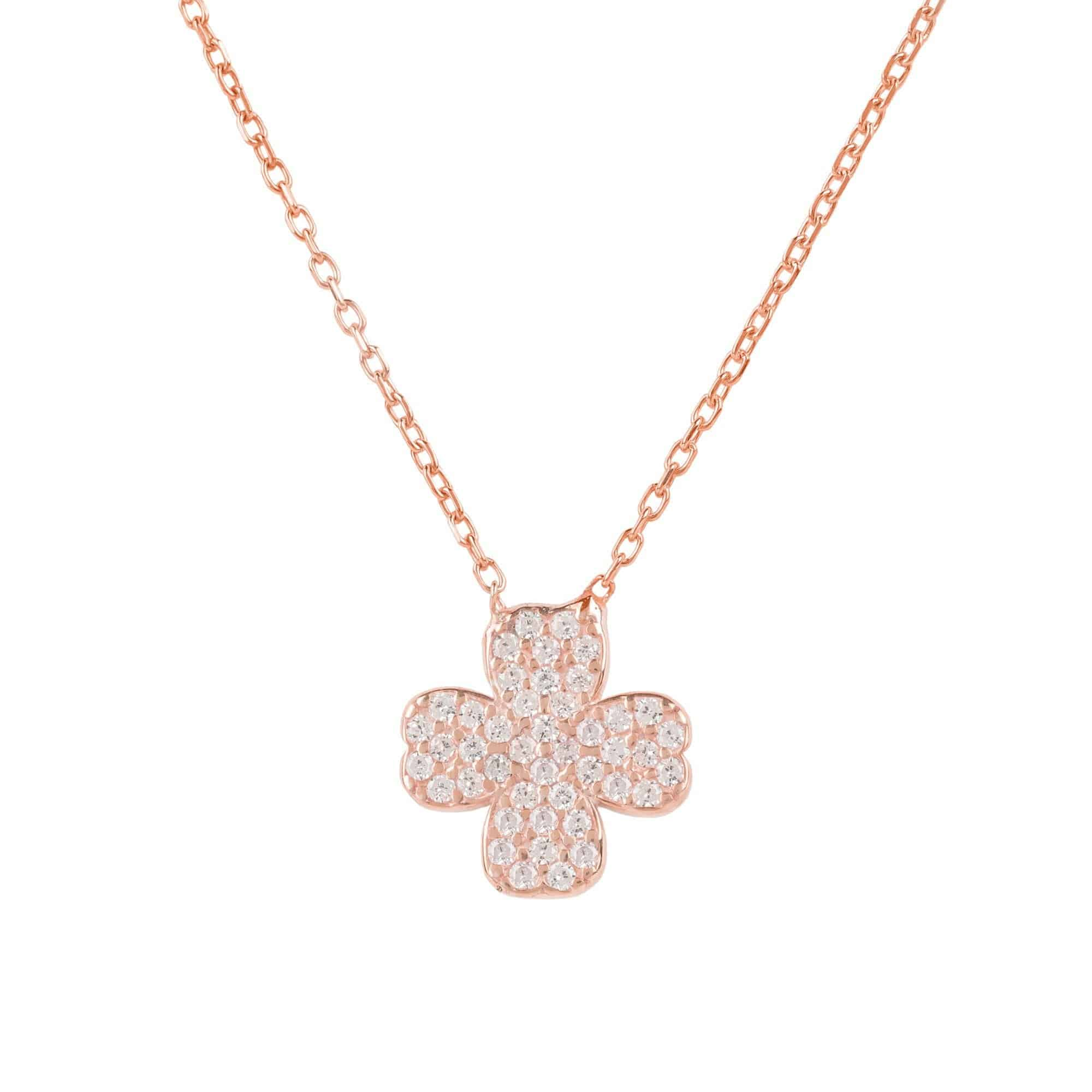 pendant leaf good four silver luck clover sterling cz necklace pave