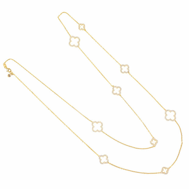 Long Open Clover White CZ Necklace Gold
