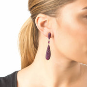 Coco Long Drop Earrings Ruby Red CZ - LATELITA