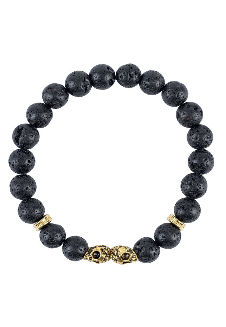 Skull Double Gold Gemstone Bracelet Black Lava Stone - LATELITA
