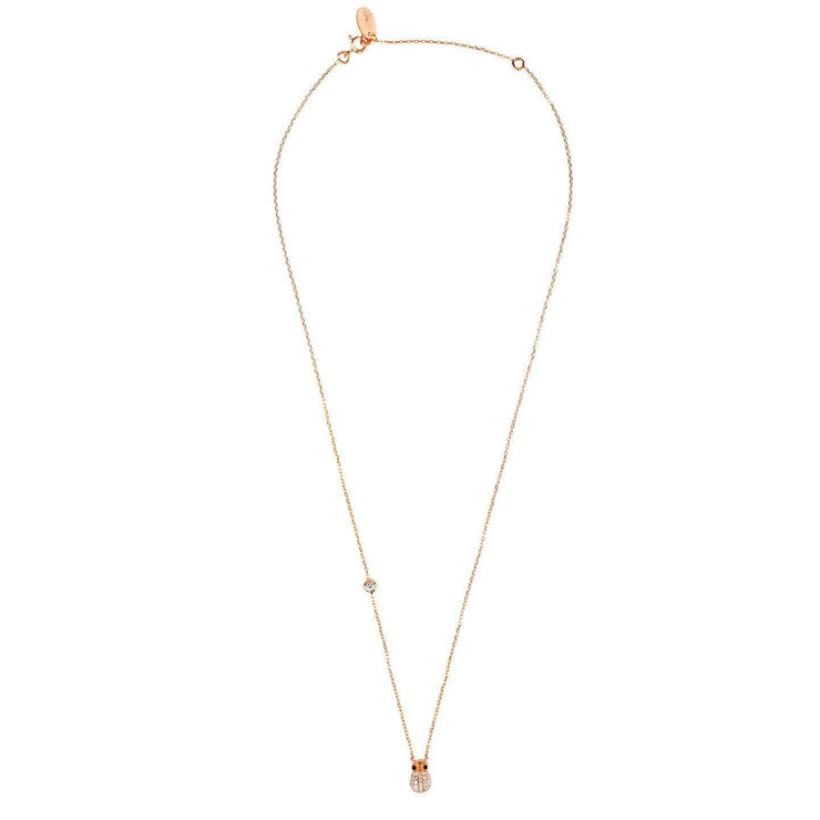 Wise Owl Small Pendant Necklace Rose Gold - LATELITA