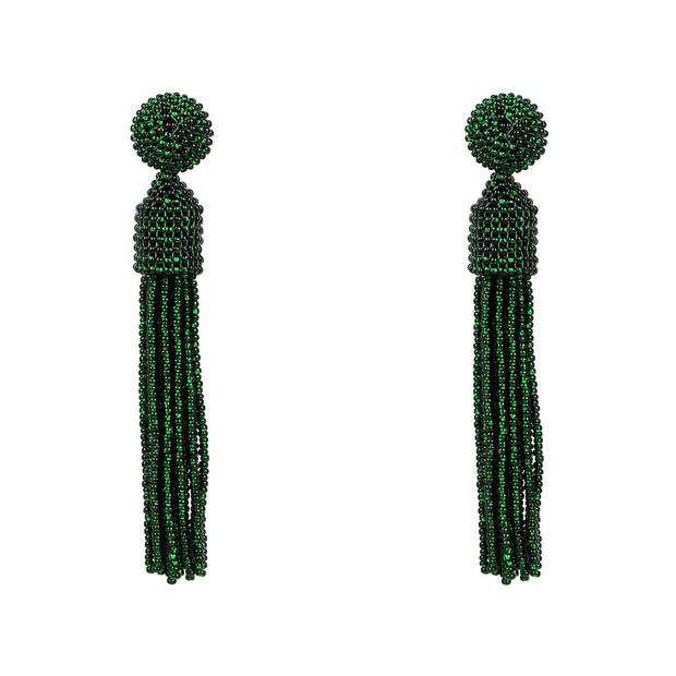 Beaded Designer Tassel Earring Dark Green